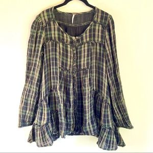 Free People Long Sleeve Plaid Peasant Top XS